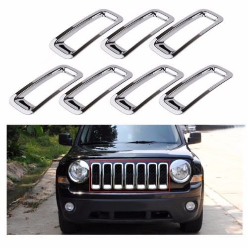 Front Grille Grill Inserts Trims Cover for Jeep Patriot 2011-2016 (Chrome) (2014 Jeep Patriot Grill Insert compare prices)