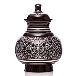 Small Ebony Engraved with Silver Engraving Series Pet Urn and Memorial - For Dogs, Cats and other pets. Accomodates Pets up to 25 Pounds