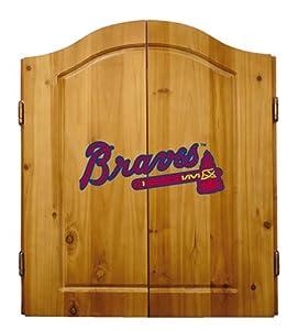 MLB Atlanta Braves Solid Pine Cabinet And Bristle Dartboard Set