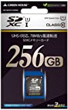 グリーンハウス SDXCメモリーカード UHS-I クラス10 256GB GH-SDXCUA256G