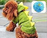 【ELEEJE】愛犬わんちゃんも一緒に大盛り上がり恐竜に変身だっ!ハロウィンクリスマスコスプレ!!ドッグウェア(小型犬、中型犬、大型犬用Aタイプ、ボールのセット)恐竜(緑色)Sサイズ