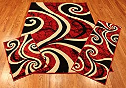 Rug and Decor Elements Collection 3 Piece Area Rug Set Area Rug Scatter and Runner #5651 Black Red Ivory Swirl RUG
