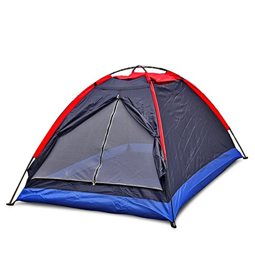 Flexzion 2 Person Folding Tent Single Layer for Outdoor Sports Camping Hiking Travel Beach Backpacking Ultralight Waterproof with Zippered Door Carrying Bag