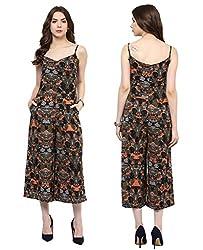 MARTINI Black Printed Cropped Sleeveless Long Length Polycrepe Jumpsuit