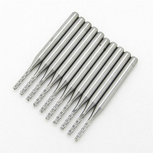 1.5MM Carbide End Milling Cutter,CNC Router Bits, End mill for PCB Machine Pack Of 10 (Pcb Cutter compare prices)