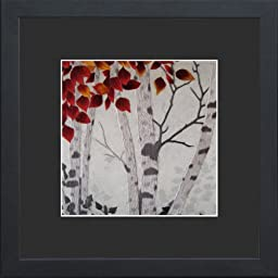 King Silk Art 100% Handmade Embroidery Beautiful Birch Tree with Autumn Leaves Chinese Print Framed Landscape Painting Gift Oriental Asian Wall Art Décor Artwork Hanging Picture Gallery 37093BFG