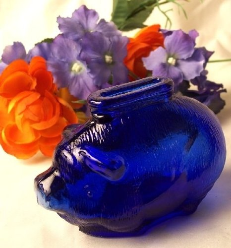 Iwgac Home Decorative Seasonal Cobalt Blue Glass Piggy Bank - 1