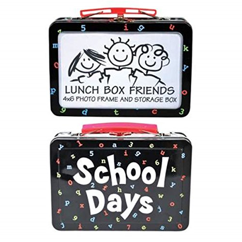 "4 x 6 Inch Black Lunch Box/Photo Frame with ""School Days"" Design - 1"