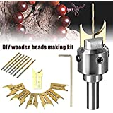 Hand Drill Bits,Beads Drill Bit Wooden Bead Maker,Milling Cutter Set Woodworking Tool Kit for Wooden Beads Woodworking (16 PCS) (Color: 16 PCS)