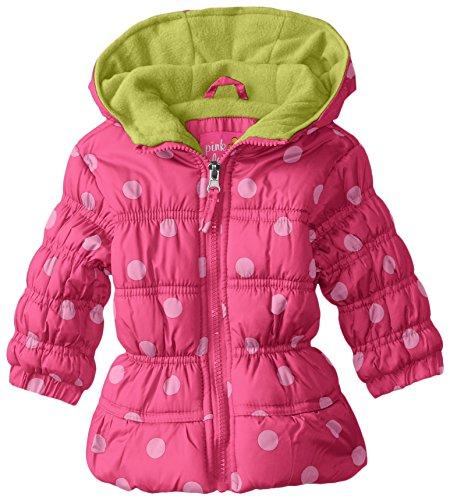 Pink Platinum Baby-Girls' Polka Dot Puffer, Pink Glo, 3-6 Months