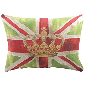 Green Union Jack with Crown Tapestry Cushion by Evans Lichfield