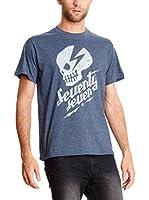 Seventy Seven Camiseta Manga Corta Punk Rock (Azul Marino)
