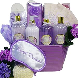 Sweet Dreams Spa Bath and Body Gift Basket Set (Lavender Dreams)