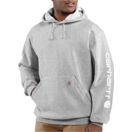 Carhartt Midweight Signature Sleeve Logo Hooded Sweatshirt Grey M,L,XL,XXL Mens