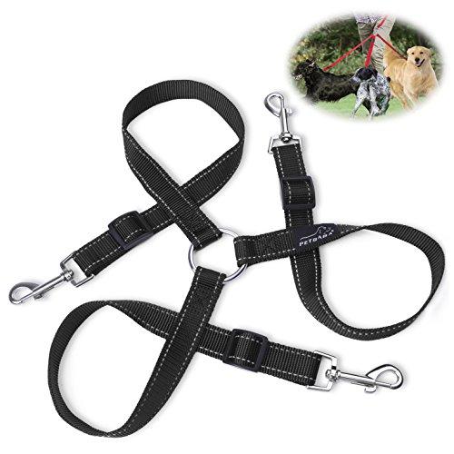 hundeleine-doppelleine-petbaba-30-50cm-lang-reflektierend-verstellbar-nylon-training-hunde-leine-fur