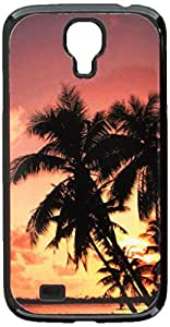 Graphics and More Tropical Island Beach Sunset Sunrise - Snap On Hard Protective Case for Samsung Galaxy S4 - Non-Retail Packaging - Black