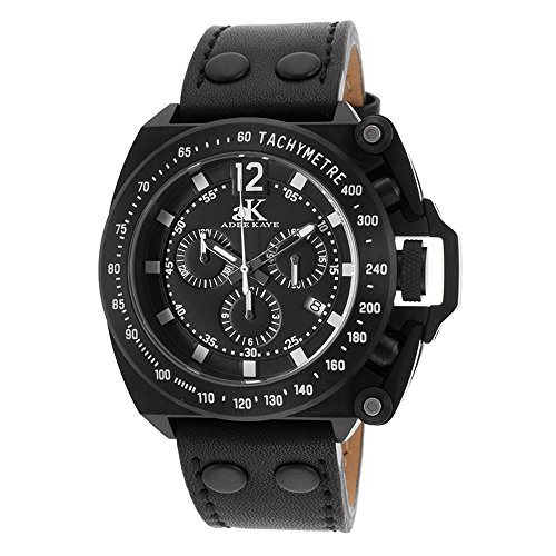 Adee Kaye Men's Trigger Black Genuine Leather Band IP Steel Case Swiss Quartz Chronograph Watch AK6566-BK