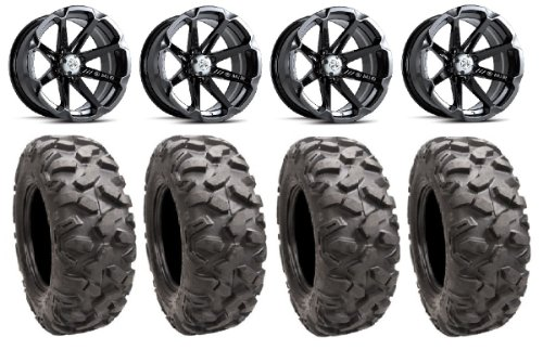 "Msa Black Diesel 14"" Atv Wheels 28"" Roctane Tires Honda Foreman Rancher Sra"