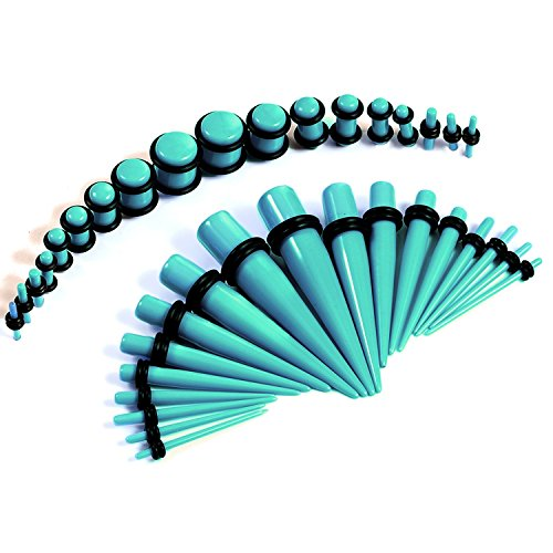 Gauges Kit 36 Pieces Turquoise Acrylic Tapers with Plugs 14G - 00G Stretching Kit - 18 Pairs (Plug Set 14g 00g compare prices)