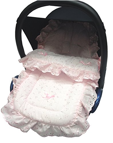 Frilly Broderie Anglaise Pink Push Chair Footmuff//Cosy Toes