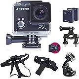Dazzne P2 1080P Sports Action Caméra Etanche DV Helmet Caméscope + 18 en 1 Mouting Accessoires Kit + 32G SanDisk Carte