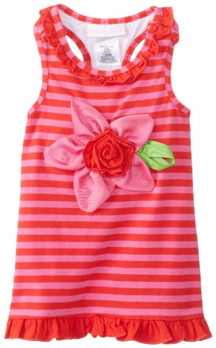 Bonnie Baby Baby-Girls Infant Knit Stripe Flower Applique Dress, Pink, 12 Months front-1074969
