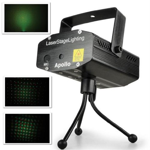 Beamz Apollo DJ Disco Mini Laser Light Green/ Red Effect + Stand