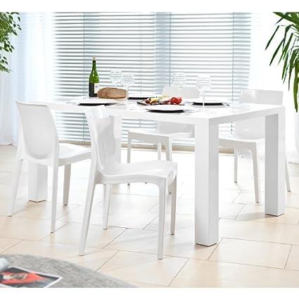 SalesFever Essgruppe Tisch 140x90cm mit 4 Design Stuhlen Luke weiß matt Sari