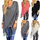 Sunward-Fashion-Womens-Tassel-Slash-Tops-Long-Sleeve-T-shirt-Blouse-Sweatshirt