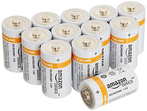 AmazonBasics D Cell Everyday Alkaline Batteries (12