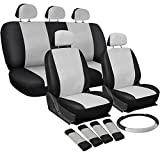 OxGord 17pc Set PU Leather / White & Black Auto Seat Covers Set - Airbag Compatible - Front Low Back Buckets - 50/50 or 60/40 Rear Split Bench - 5 Head Rests - Universal Fit for Car, Truck, Suv, or Van - FREE Steering Wheel Cover