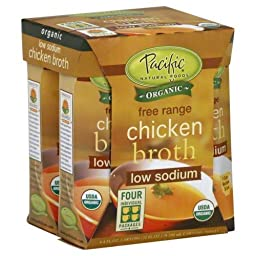 Pacific Natural Foods Organic Low-sodiumchicken Broth, 4-Count, 8-Ounce Cartons (Pack of 6)