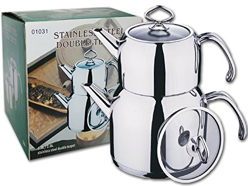 Stainless Steel Double Teapot (Stainless Steel Glass Cover) Samovar / Tea Maker (Zebra Teapot compare prices)
