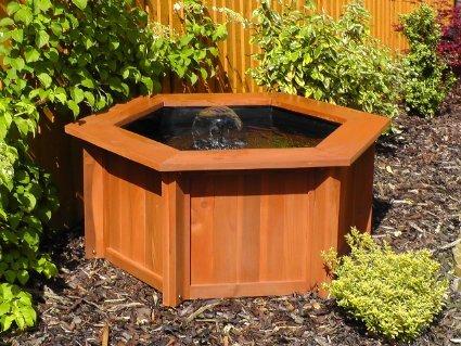 Raised hexagon wooden garden patio water fish pond for Garden pond amazon