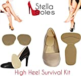 High Heel Survival Kit by StellaSoles Includes Adhesive Blister Blocking Protection for Heel & Anti-Slip Front Foot Gel Foot Pad (Tan Gel)