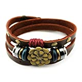 Real Spark 3-Row Holy Lotus Flower Leather Button Adjustable Length Amulet Wrap Bracelet