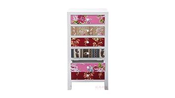 Kare 78515 - Cómoda con estampado de patchwork, diseño de flores, multicolor, 6 cajones