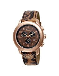 Freelook Women's HA1132CHRG-2 Rose Gold Plated Stainless Steel Brown Dial Snake Leather Band Watch