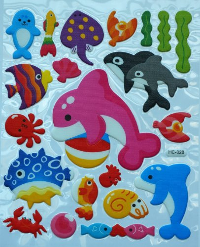 Jazzstick Cute Dolphin, Fish & Squid Adhesive Foam Kids Room/Nursery Decorative Wall Sticker A4 size (VST41A05) - 1