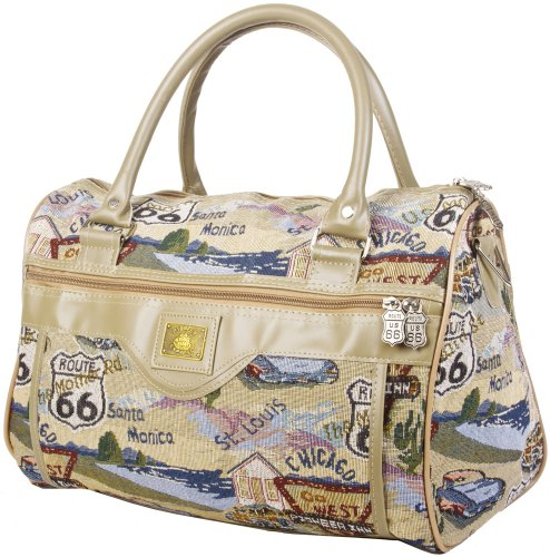 "Route 66 Tapestry Duffle Bag - 14"" front-223512"