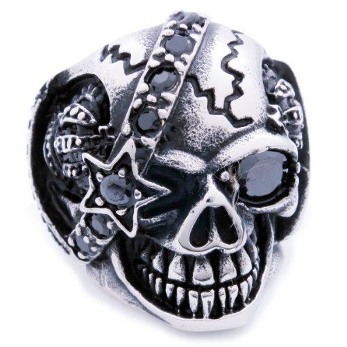 Stainless Steel Star Belt Skull Cubic Zirconia Men Biker Ring Size 11