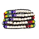 7 Chakras Yoga Freshwater Cultured Pearls Simulated Amethyst Lava Rock Sodalite Wrap Leather Bracelet(White)