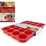 Silicone Mini Muffin Pan and Cupcake Maker 24 Cup, Multi-use Commercial Grade Bakeware, Recipe Ebook
