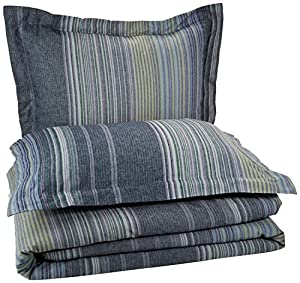 Pinzon Lightweight Cotton Flannel Duvet Set - King, Blue Stripe