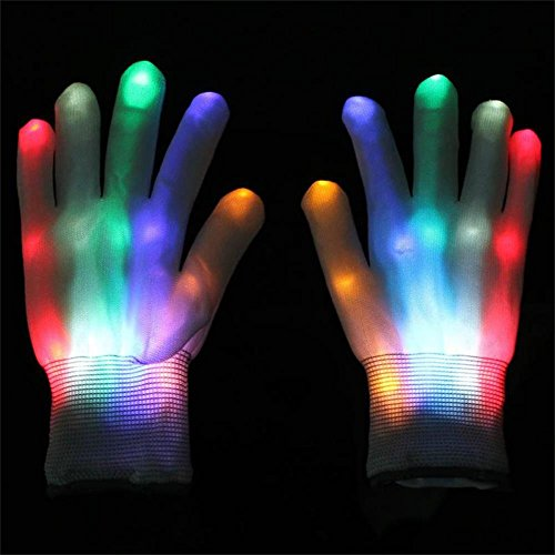 Ixiang LED Flashing Gloves Colorful Finger Light Christmas Halloween Party Decoration