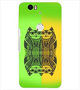 PrintDhaba OWL SHADE D-6196 Back Case Cover for HUAWEI NEXUS 6P (Multi-Coloured)