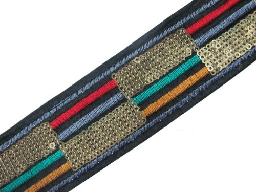 3 Yd Black Fabric Copper Sequin Embroidery Ribbon Trim
