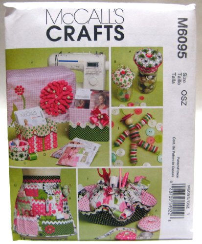 McCall's Patterns M6095 Sewing Machine Cover, Apron, Pattern Boxes, Container, Organizer, Pin Cushions and Button Doll, One Size Only