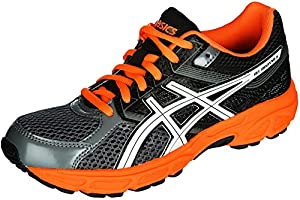 ASICS Gel Contend 3 GS Running Shoe (Little Kid/Big Kid), Carbon/White/Orange, 5 M US Big Kid