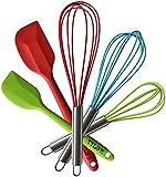 TTLIFE 5pcs utensillos de batidora y espatula de cocina de acero inoxidable y silicona utensilios de cocina resistente al calor 3 pcs batidoras y 2 pcs espatulas de silicona para la mezcla Golpes & removedor